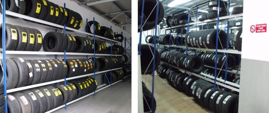 9. Scaffalatura porta pneumatici con soppalco (foto destra)