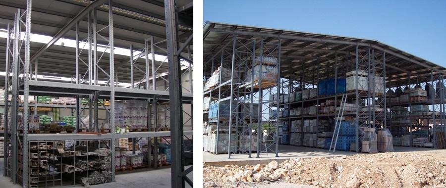 12. Impianto autoportante realizzato con scaffali metallici E100