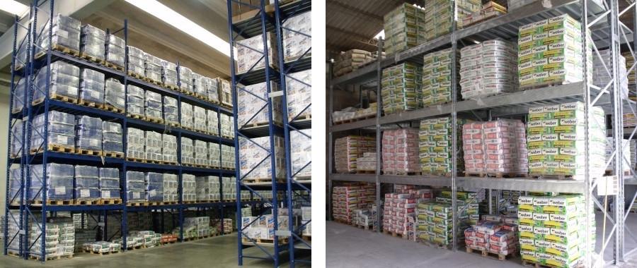 3. Scaffali industriali porta pallet all'interno di magazzini di prodotti edili