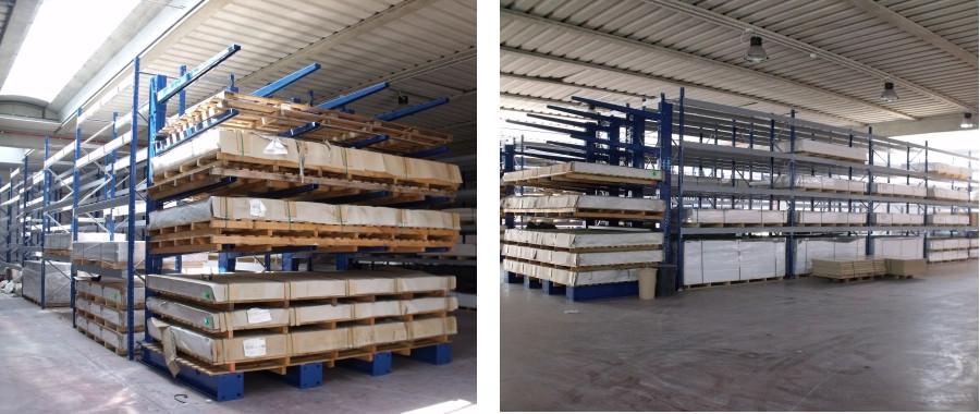 9. magazzino allestito con cantilever e scaffali porta pallet