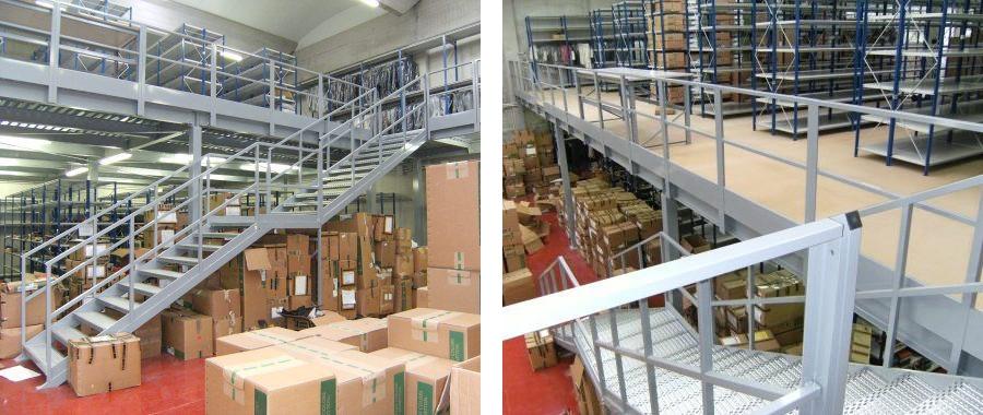 11. Soppalco realizzato in carpenteria con scala in acciaio e pavimento in lamiera con sovrapposizione di pannelli in truciolare