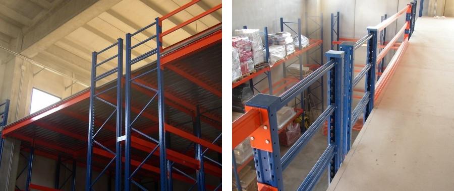 7. Soppalco metallico per magazzino realizzato con scaffalatura E120