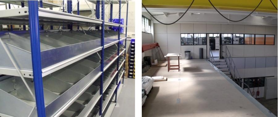13. soppalco (foto destra) e scaffalatura con spondine e divisori (foto sinistra)